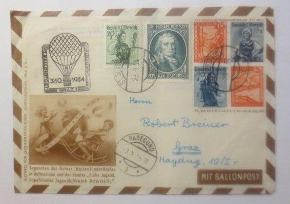 Österreich 12. Ballonpost Graz-Wien  ZF Kinderdorf Rottenmann  1954 ♥ (44757)