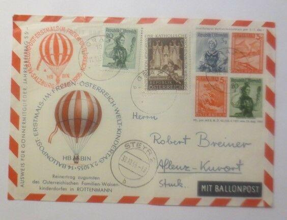 Österreich 14. Ballonpost Wien 1955   ZF Kinderdorf Rottenmann  1955 ♥ (44755)