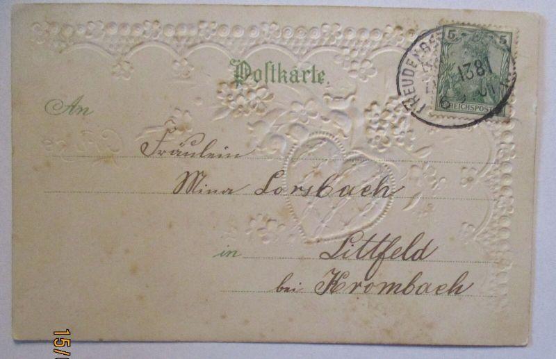 Bahnpost Freudenberg Zug 1381 Präge Materialkarte 1901 nach Littfeld (28634)