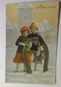 Neujahr, Kinder, Hufeisen, Kleeblatt,    1911 ♥ (42397)
