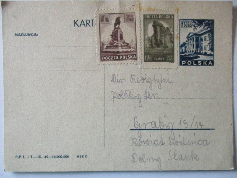 Polen, Ganzsache 1945 ungebraucht mit Zusatz 51256 0