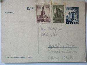 Polen, Ganzsache 1945 ungebraucht mit Zusatz 51256