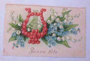 Geburtstag, Blumen, Maiglöckchen, Rosen, Harfe, 1906,  Prägekarte ♥  (64803)