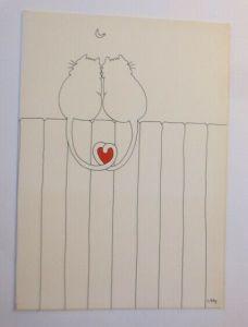 Katzen, Verliebt, Herz, Mond, Klappkarte, 1980, Libby ♥ (72749)