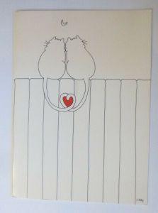 Katzen, Herz, Verliebt, Mond, Klappkarte,   1980, Libby ♥ (72746)
