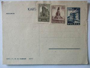 Polen, Ganzsache 1945 ungebraucht mit Zusatz 12134