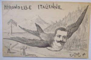 Italien Politik Patriotik, König Victor Emanuel als Schwalbe sign. 1903 (37919)