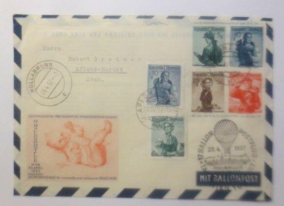 Österreich 17. Ballonpost Wien 1955   ZF Kinderdorf   1957 ♥ (72485)