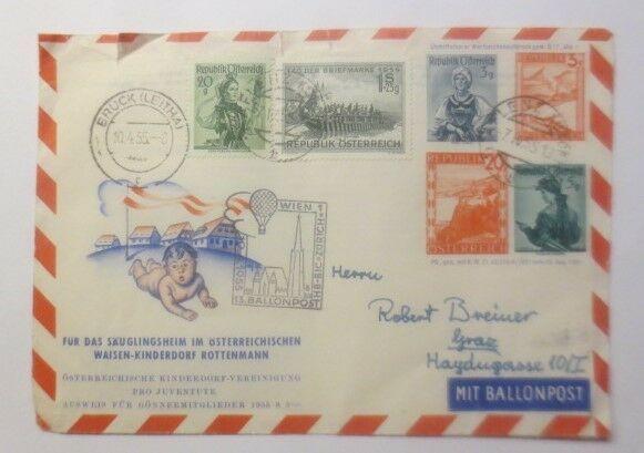 Österreich 13. Ballonpost Wien 1955   ZF Kinderdorf Rottenmann  1955 ♥ (72484)