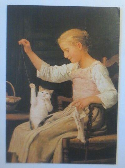 Katzen, Mädchen mit seiner Katze spielend, 1984, Albert Anker ♥ (72713)