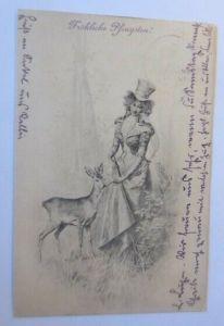 Pfingsten, Frauen, Mode, Rehe, 1902  ♥ (30528)