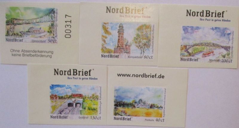 Privatpost Nordbrief 5 ungebrauchte Folienmarken (7748)