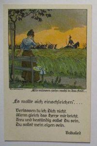 Wir müssen ziehn wohl in das Feld, Künstlerkarte sign. Volkmann (49216)