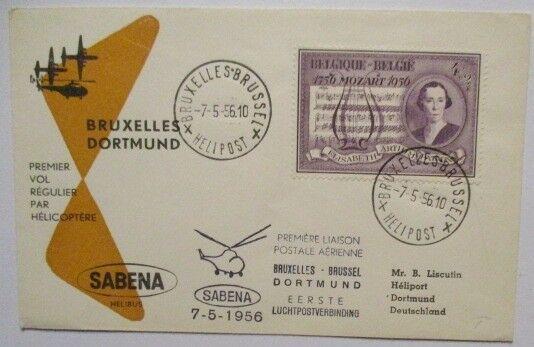Belgien, Hubschrauber Helikopterpost Brüssel - Dortmund 1956 (44742)