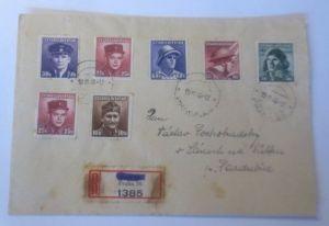 Tschechoslowakei 7 Werte auf R-Brief 1946  Prag 1946  ♥ (72515)