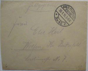 Frankreich Lille, Feldpoststation 45, Militär Eisenbahn Direktion 1916 (30919)