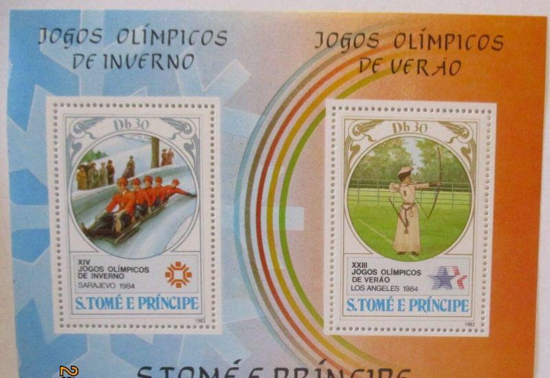 S. Tome e Principe Block Olympia Sarajevo 1984 postfrisch (4542) 0