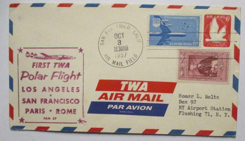 TWA Erstflug First Polar Flight Los Angeles 1957 (19192)