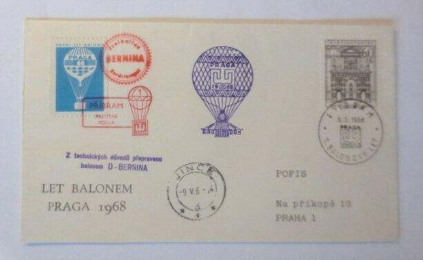 Ballonpost,Tschechoslowakei , Bernina-Prag 1968  ♥ (31904)