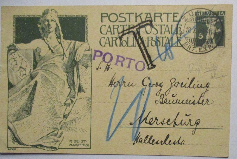 Schweiz, Sonderganzsache 1909 mit Porto-Vermerk und Taxe Stempel  (41111)
