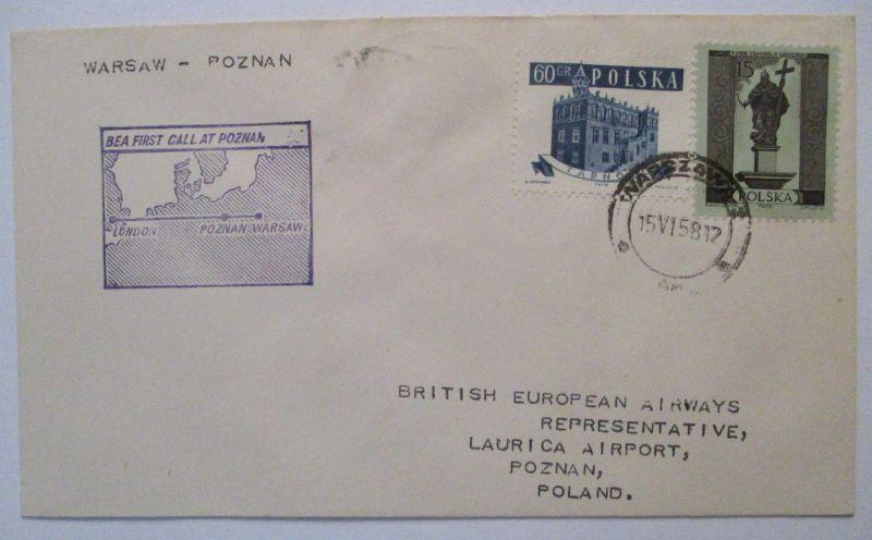 Polen BEA Erstflug Poznan-Warschau 1958 34162