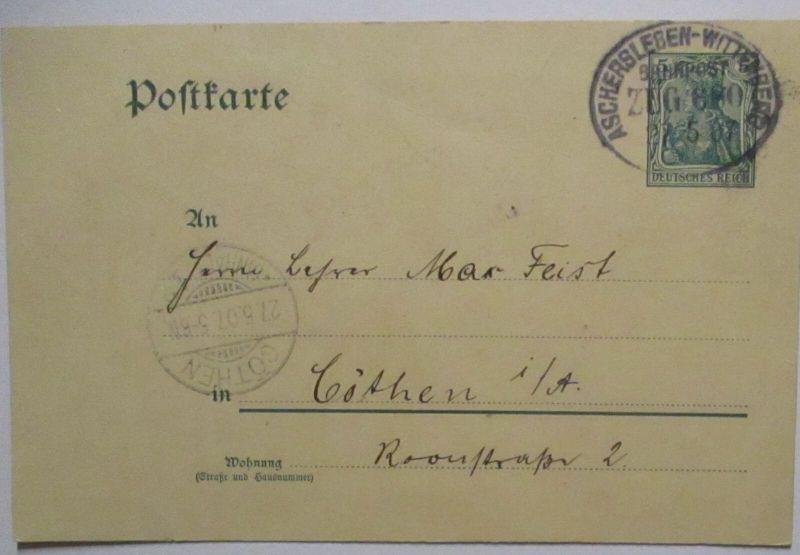 Bahnpost Aschersleben Wittenberg Zug 680 Ganzsache 1907 (53009)