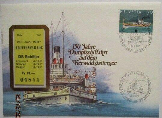Schweiz, Vierwaldstättersee Flottenparade 1987 Ticket Brief (38710)