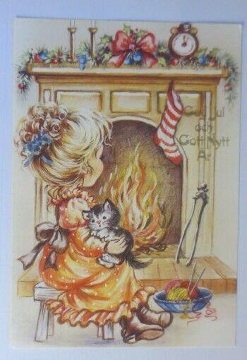Katzen, Mädchen mit Katze, Kamin, Weihnachten,  1980 ♥ (72820)