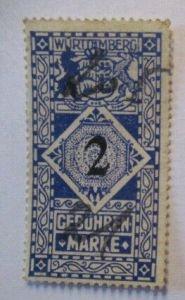 Württemberg, 2 Mark Gebührenmarke gestempelt (48592)
