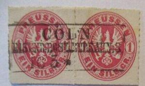 Preußen 1 SGR Nr.16 Paar gestempelt Eisenbahn-Stempel Cöln (48590)