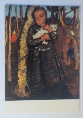 Katzen, Mädchen mit Katze,  1980, Paula Modersohn-Becker ♥ (72819)