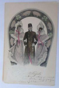 Neujahr, Frauen, Männer, Mode, Hufeisen, Schweine, Kleeblatt,  1903 ♥ (19635)