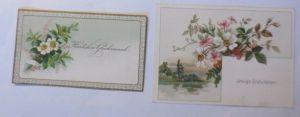 2.Glückwunschkärtchen, Geburtstag, Blumen, Jahr 1878 ♥ (60912)