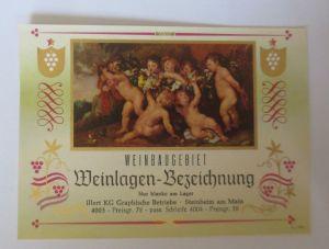 Weinetikett, Weinbaugebiet, Steinheim am Main,  ca. 1960 ♥ (8185)