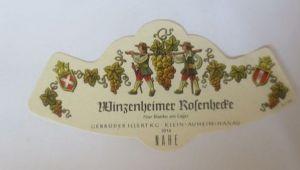Weinetikett, Winzenheimer Rosenhecke, Klein Auheim, Hanau,  1960 ♥ (65911)
