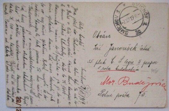 Tschechoslowakei, Feldpost 1919 von Smichov an Feldpostadresse (48916)