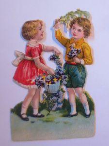 Oblaten, Kinder, Blumen,     1900,  10 cm x 7 cm  ♥