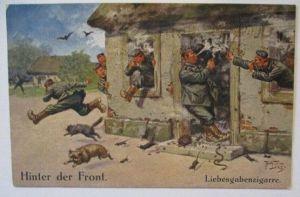 Künstlerkarte Arthur Thiele, Hinter der Front, Liebesgaben-Zigarre (1503)