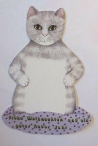 Katzen, Weihnachten, Neujahr,  1980, 15,5 cm x  9 cm  ♥ (72681)