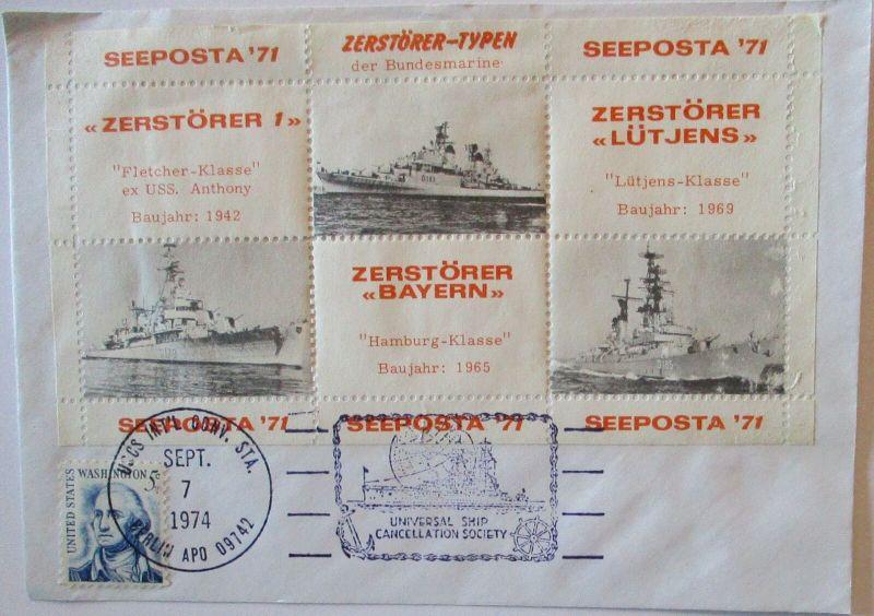 Marine Bundeswehr Zerstörer Typen Vignettenblock Schiffspost USA (49807)