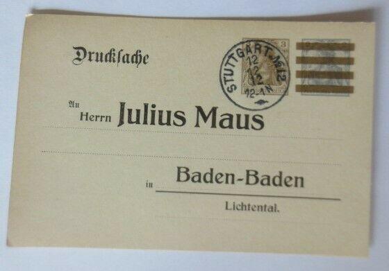 Ganzsache Drucksache Julius Maus Baden- Baden Lichtental. 12.12.12 ♥ (18927)