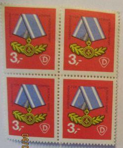 DDR Orden Ehrenzeichen für Kultur und Sport Spendenmarke Viererblock xx (49343)