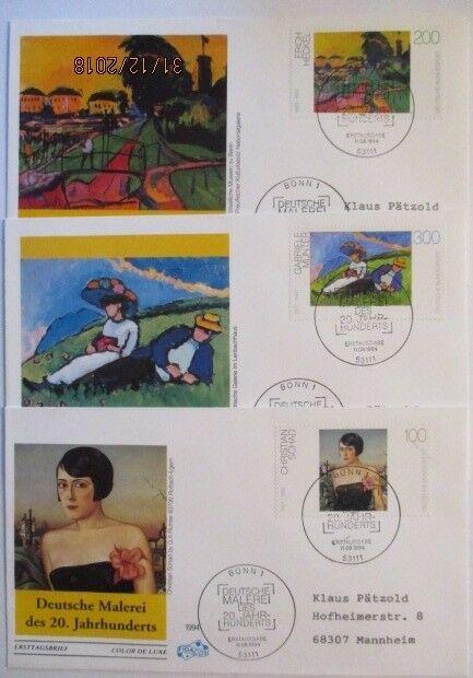 Malerei, 3 FDC Deutschland 1994Schad Münter Heckel (47426)