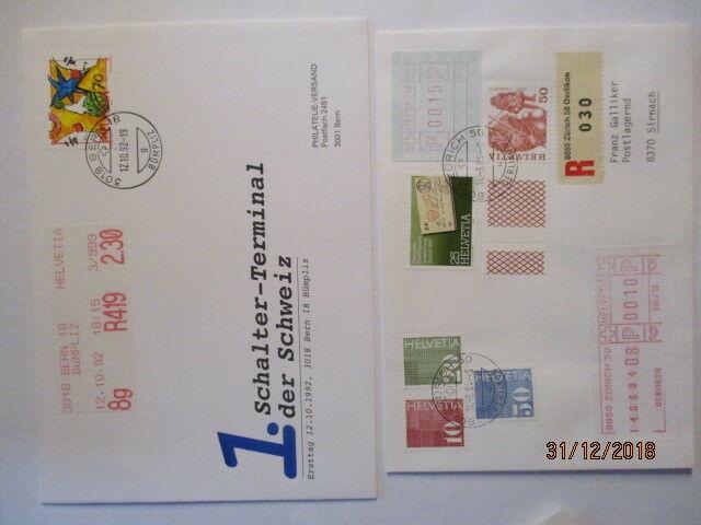 Schweiz Automatenmarken ATM, 4 seltene Briefe (44682)