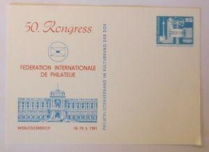 DDR Privatganzsache 50. Kongress Philatelie 1981 Wien Österreich  ♥ (72562)