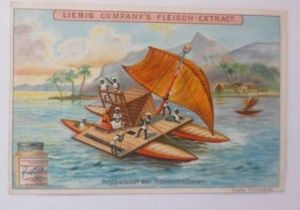 Liebig, Serie 572, Schiffe, Doppelboot der Fidschiinsulaner  ♥