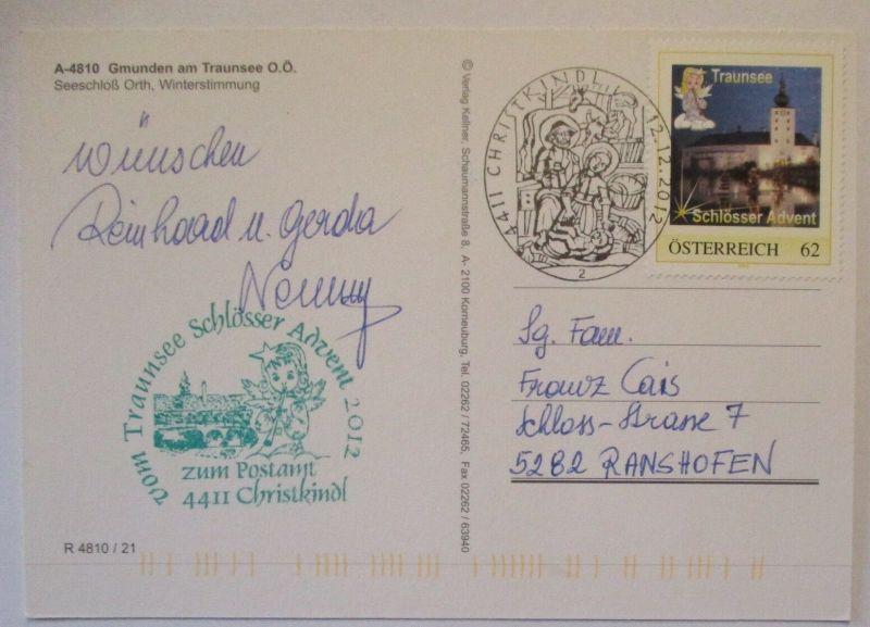 Österreich Christkindl 2012 mit personalisierter Marke Schloss Traunsee (41369)