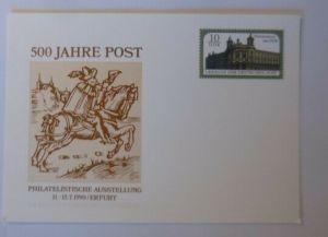 DDR Privatganzsache 500 Jahre Post Ausstellung Erfurt 1990 ♥ (72545)