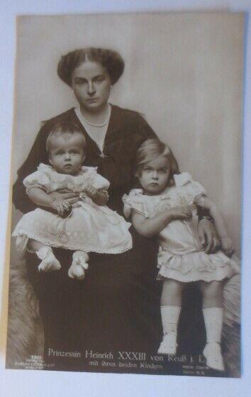 Adel, Prinzessin Heinrich XXXIII von Reuß mit beiden Kindern ♥ (33135)