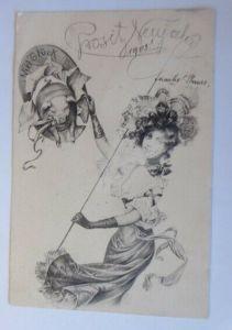 Neujahr, Frauen, Mode, Peitsche, Schwein, Hufeisen,  1902 ♥ (19706)